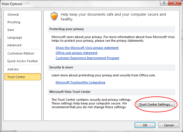 Click on Trust Center Settings to open Trust Center Window