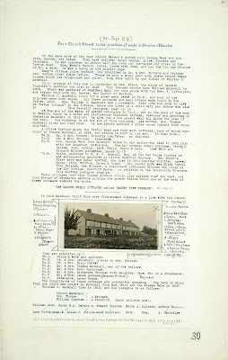 A Record of Shelford Parva by Fanny Wale P30 fo. 31, page 30: Description of Church Street to the junction roads to Newton and Hauxton. A photograph of 'New garden field cottages' called 'Mount View Terrace' with a list of inhabitants, c.1915. [fo.28 but within mount B]