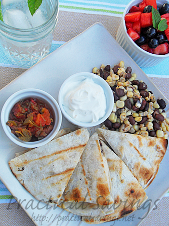 relish recipe - chicken quesadillas, fresh corn relish and watermelon berry salad