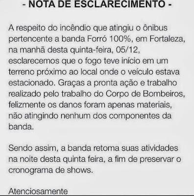 Ônibus da Samyra Show e Forró 100% pega fogo em Fortaleza-CE