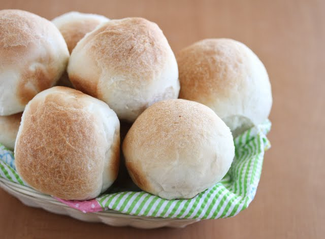 close-up photo of a basket of One Hour Dinner Rolls
