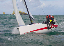 J/70 one-design sailboat- sailing upwind off England