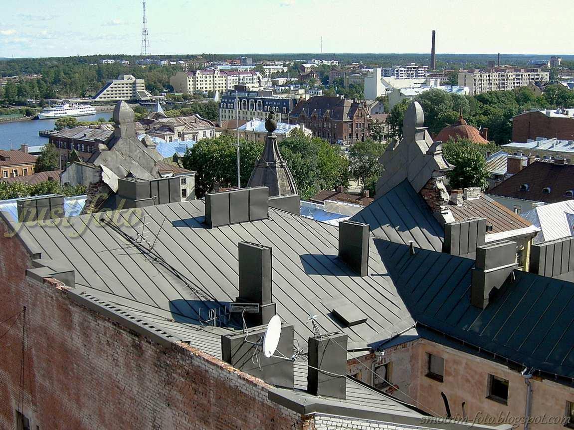 Вид на крыши Выборга с Часовой башни фото