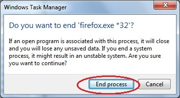 Want to end firefox