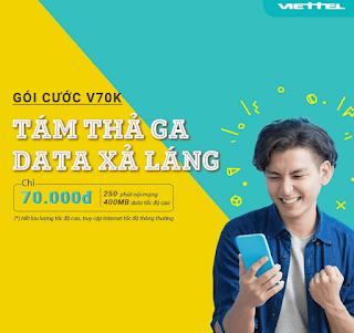 Miễn phí Gọi Nội mạng, tặng 400 MB Data Gói V70K Viettel