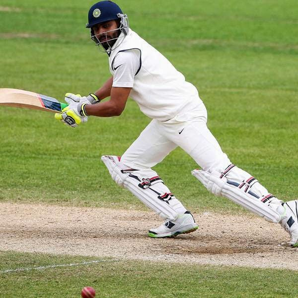 India's Ravindra Jadeja bats on the final day of the first cricket Test match between England and India at Trent Bridge in Nottingham, central England on July 13, 2014.