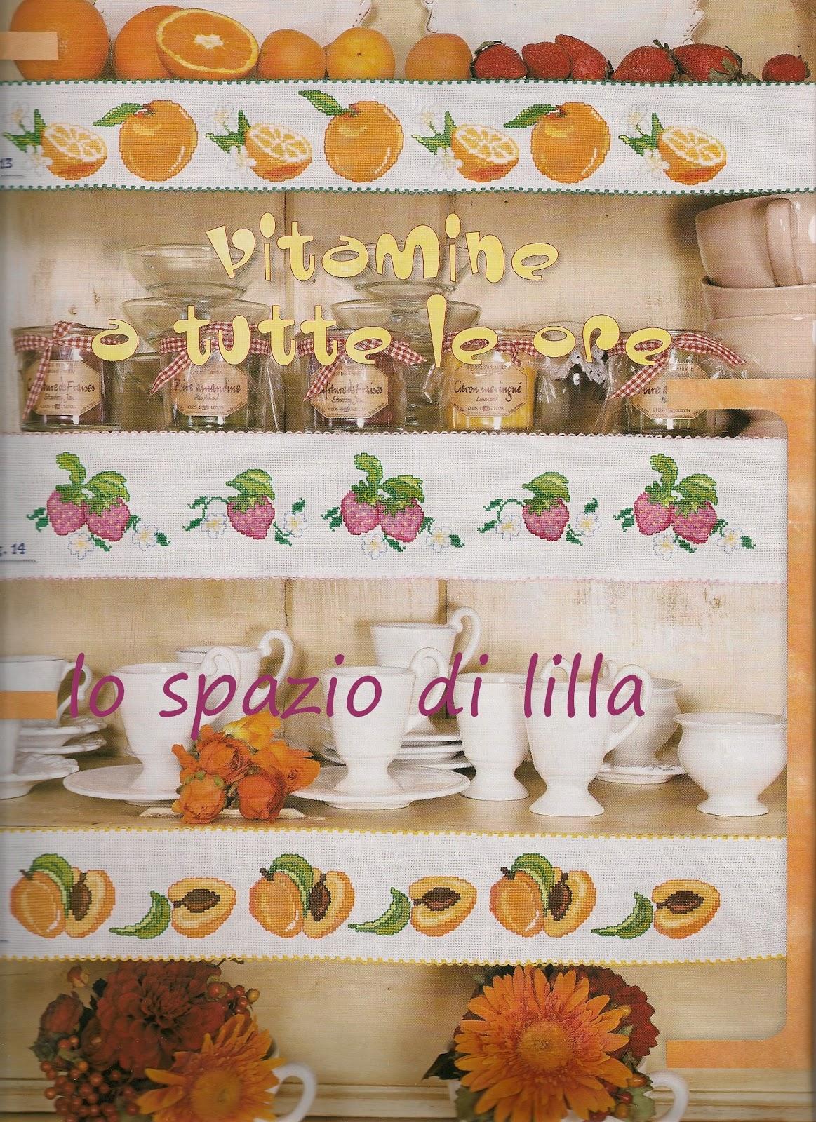 Lo spazio di lilla il punto croce in cucina bordure dal for Schemi bordure uncinetto per mensole