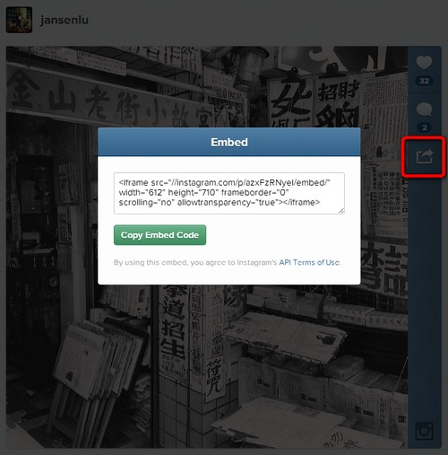 Instagram now allows web embed
