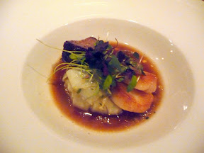 Roe restaurant confit scallop, cuttlefish noodles, braised short rib, sweet potato hoisin, lime, pho beef demi