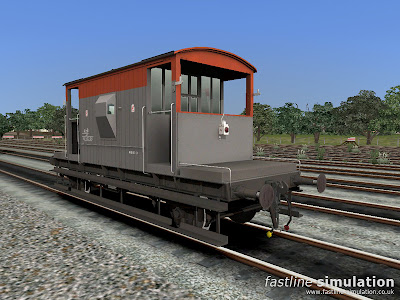 Fastline Simulation: Dia. 1/507 brake van lettered CAR for Railworks in clean Railfreight red and grey livery with one tail lamp.