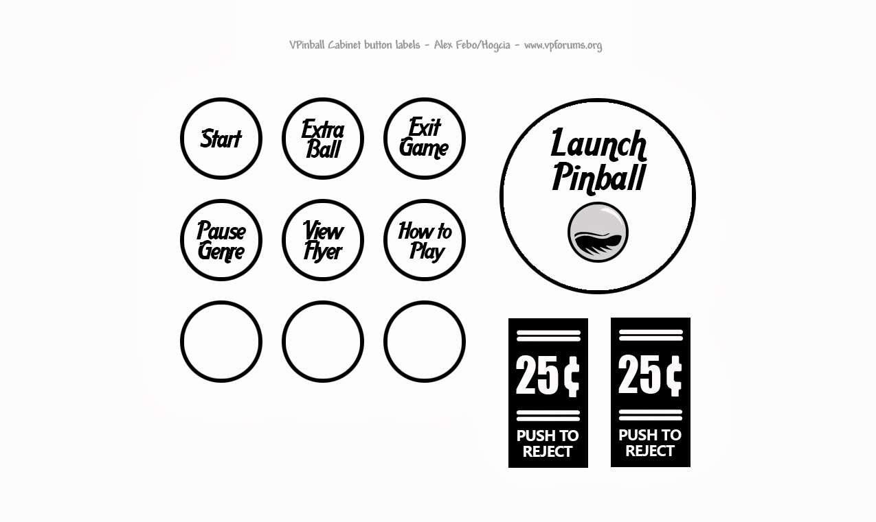Need Pinball Cabinet Clear button labels, anyone know where I can