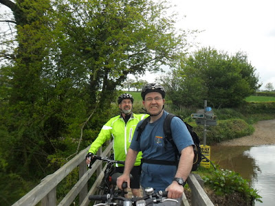 Cyclists on footbridge