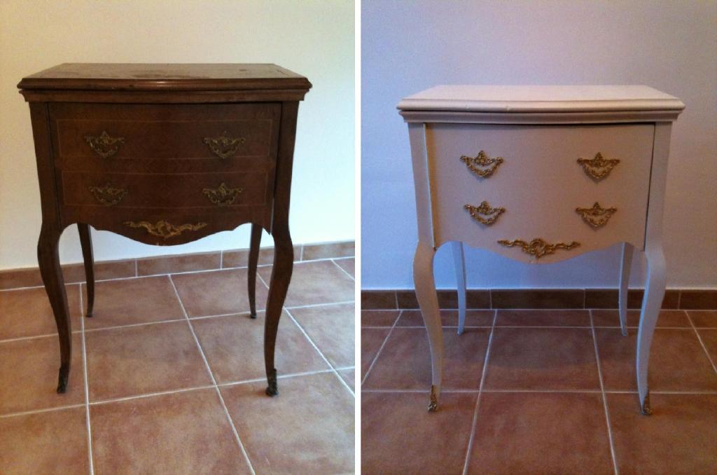 Antes y despu s de la mesilla de noche de cristina for Muebles antiguos restaurados antes y despues