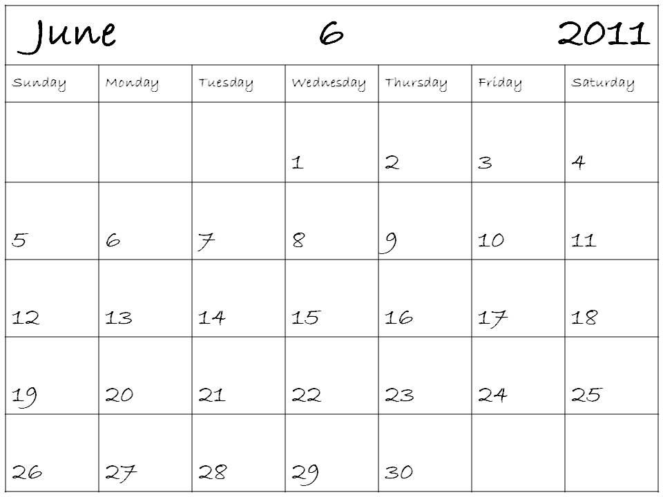 june calendar 2011. june 2011 calendar blank.