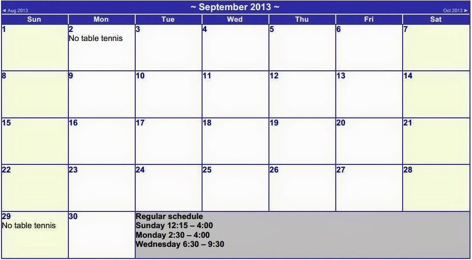 September schedule for the TT sessions