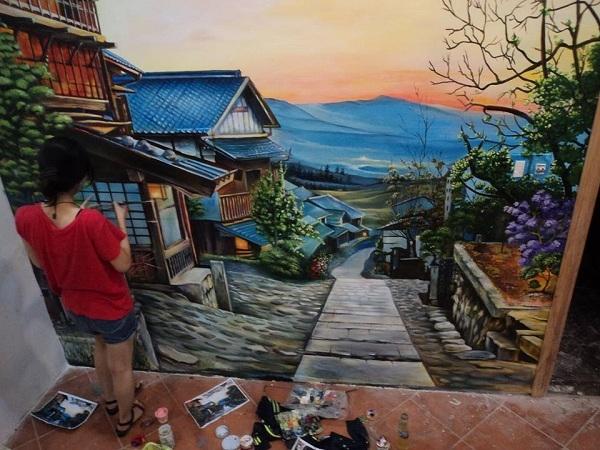 Vẽ tranh tường trang trí quán trà sữa tại TP-Hồ Chí Minh