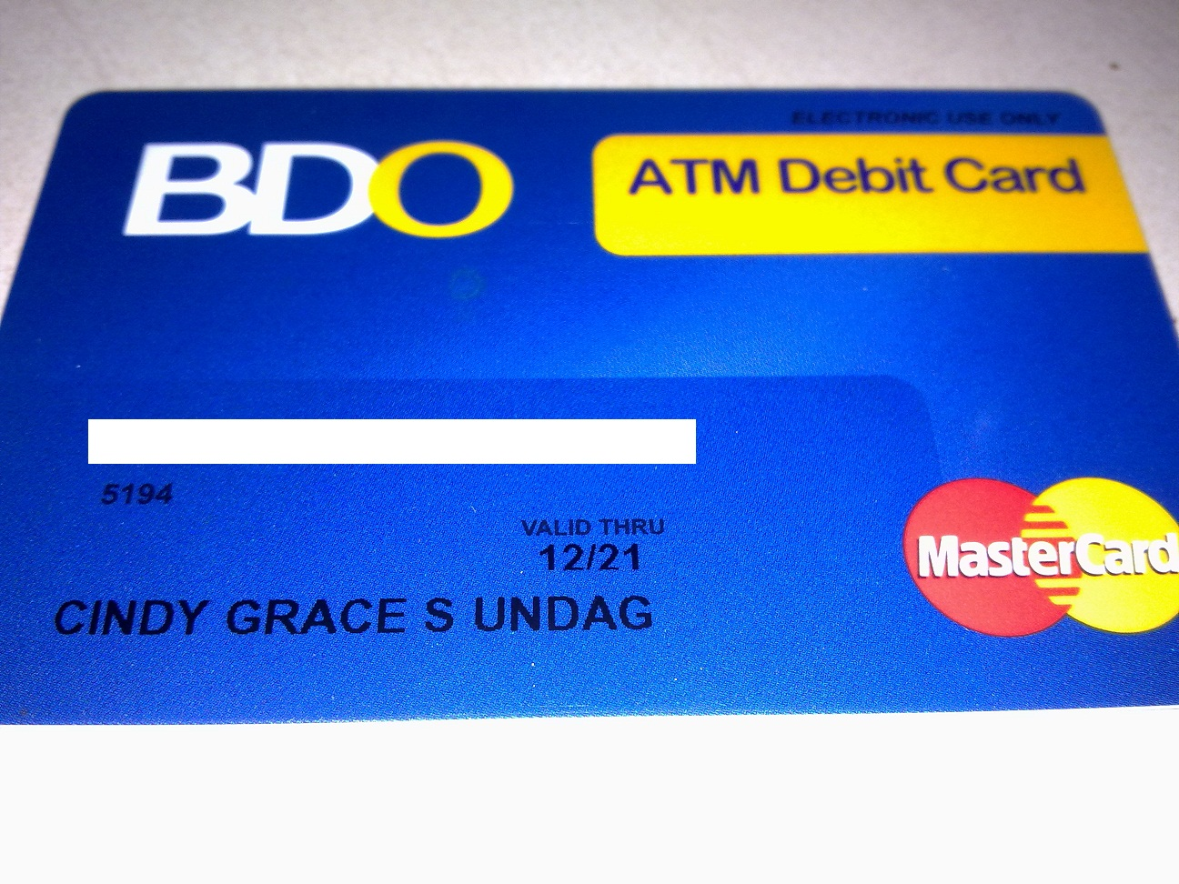 Debit card sample
