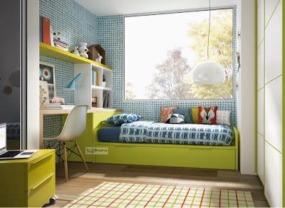 dormitorio con cama nido y escritorio blanco y verde