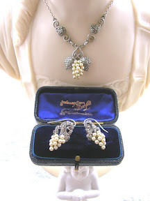 Art Deco Marcasite Pearl Necklace Earrings Silver 1930s