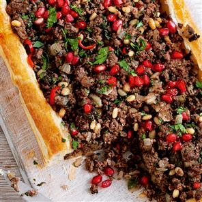 Arabic food recipes spicy lebanese lamb tart recipe for Pomegranate molasses sainsburys