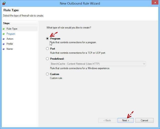 การบล็อกโปรแกรมไม่ให้เชื่อมต่ออินเตอร์เนตด้วย Windows Firewall Fwblockcon04