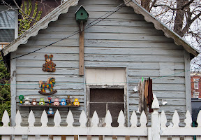 shed, collection, yard, oddities, weird, carebears, barney