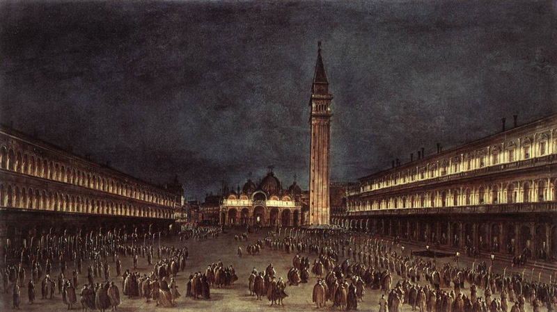 Francesco Guardi - Nighttime Procession in Piazza San Marco