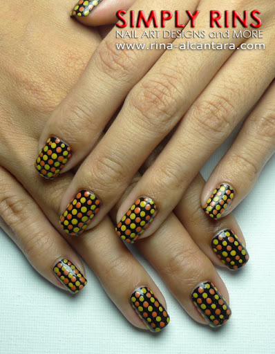 Halloween Polka Nail Art Design