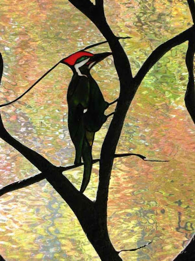 Art Nouveau Stained Glass Tree and Bird Detail ©Cain Art Glass 2016, All Rights Reserved