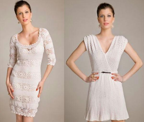 Vestido curto crochê branco