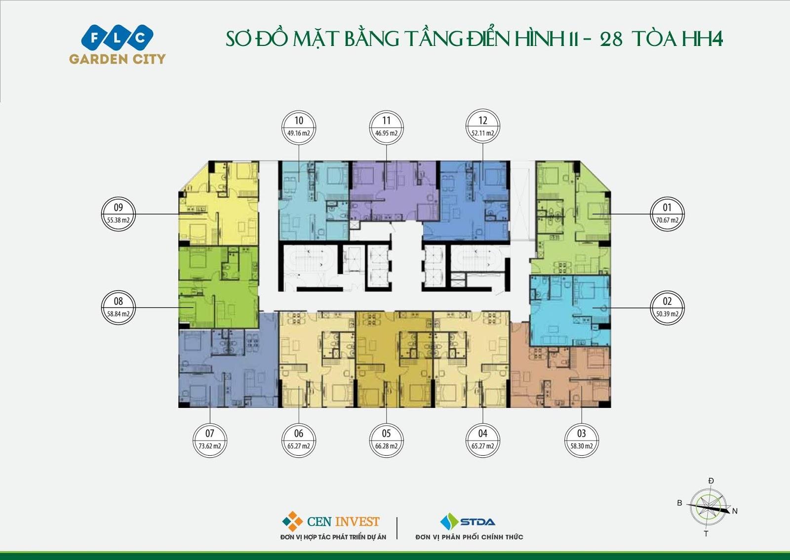 Mặt bằng tầng 11 - 28 Tòa HH4 dự án FLC Garden City Đại Mỗ