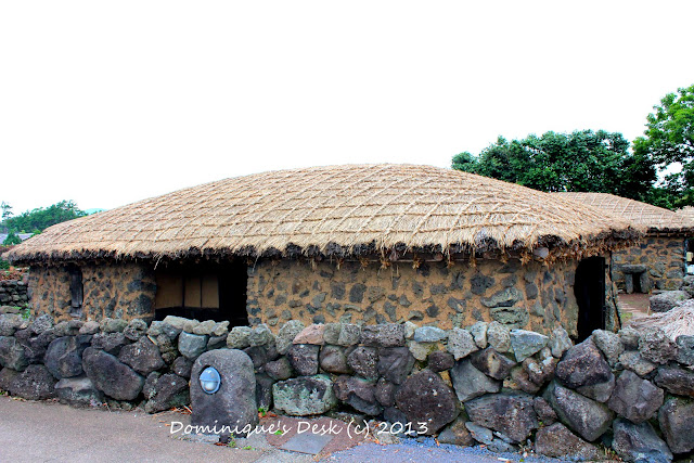 Lava rocks as walls around the houses