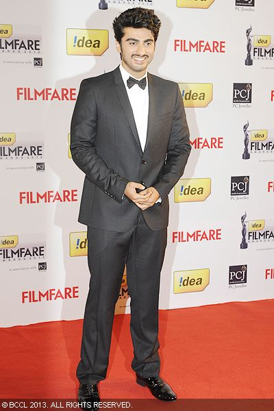 Smashing Arjun Kapoor poses for the cameras during the 58th Idea Filmfare Awards 2013, held at Yash Raj Films Studios in Mumbai.<br /> Click here for:<br />  58th Idea Filmfare Awards