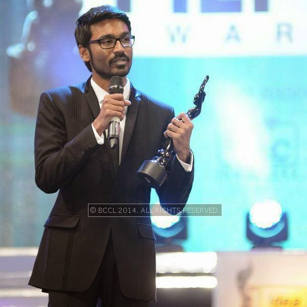 Dhanush speaks after receiving Best Critics Actor award during the 61st Idea Filmfare Awards South, held at Jawaharlal Nehru Stadium in Chennai, on July 12, 2014.