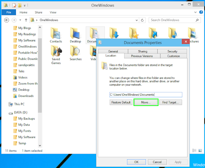 Windows 10 Tech Preview build 9879, A Clean Installation... part 3: Moving User Default Data Folders