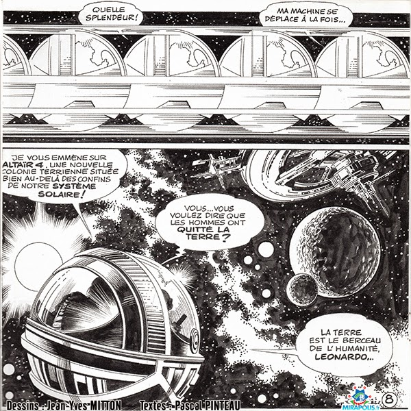 Page 8 de la BD Leonard de Vinci vendue a Mirapolis