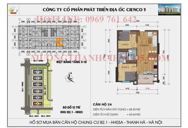 Sơ đồ chi tiết căn hộ chung cư b2.1 HH03A căn 24