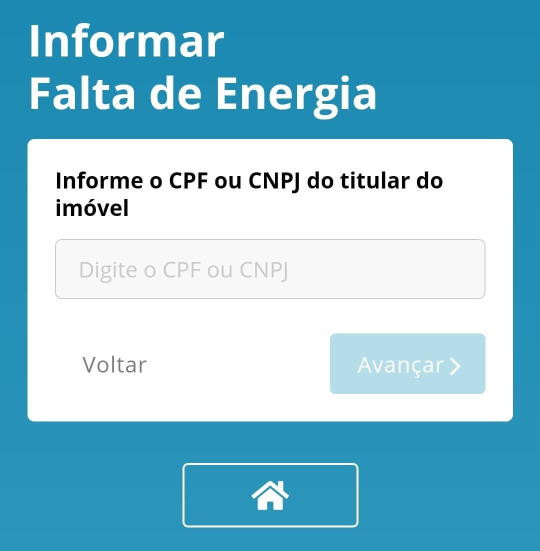 informar cpf do titular da conta de luz da energisa com falta de energia