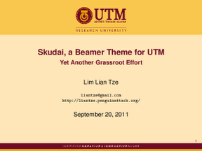 Malaysian latex user group skudai a beamer theme for utm a brief example on using the theme toneelgroepblik Gallery
