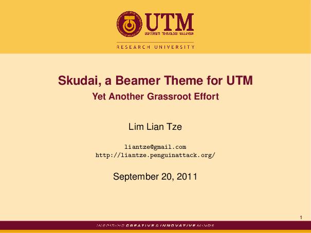Malaysian latex user group skudai a beamer theme for utm toneelgroepblik Images