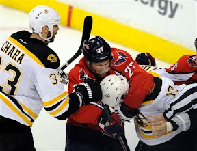 Milan Lucic gets jumped by Karl Alzner as Lucic was wrestling with Matt Hendricks
