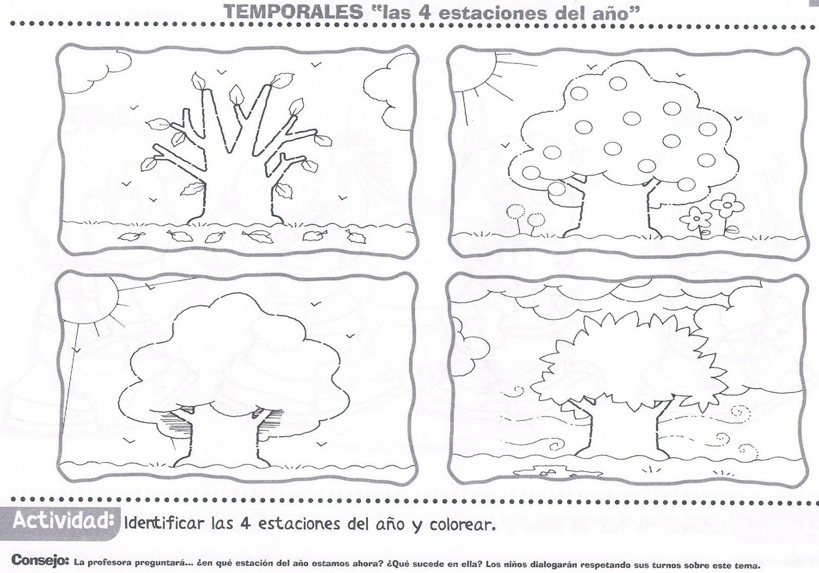 Dibujos De Las 4 Estaciones Para Colorear: Atividades Educativas