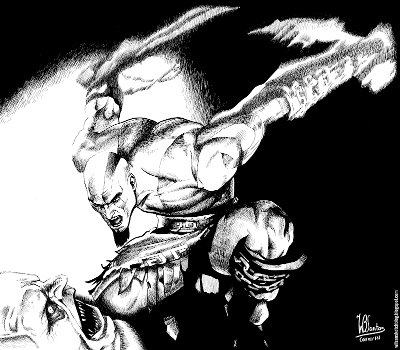 Ink drawing of God of War, using Krita 2.5.
