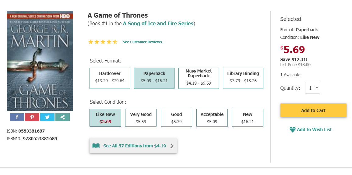 A game of thrones book cover and product detail page from Thriftbooks.