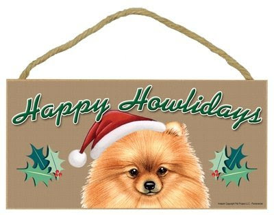 Happy Howlidays Wooden Sign - Pomeranian (Red)