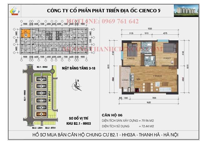 Sơ đồ chi tiết căn hộ chung cư b2.1 HH03A căn 06