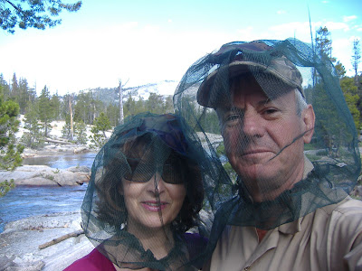 Yep--it was a buggy trip~! Here we are modelling the latest in designer headwear on the North Fork of the Kings River.  But the flowers were stunning, the place was amazing...and thanks to the bugs, we saw a total of 14 people in five days.