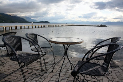 Table and chairs in Ohrid Macedonia in the Balkans