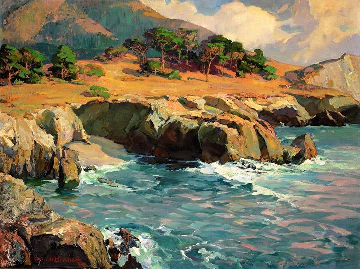 Franz Bischoff - Carmel Rocks at Sunset