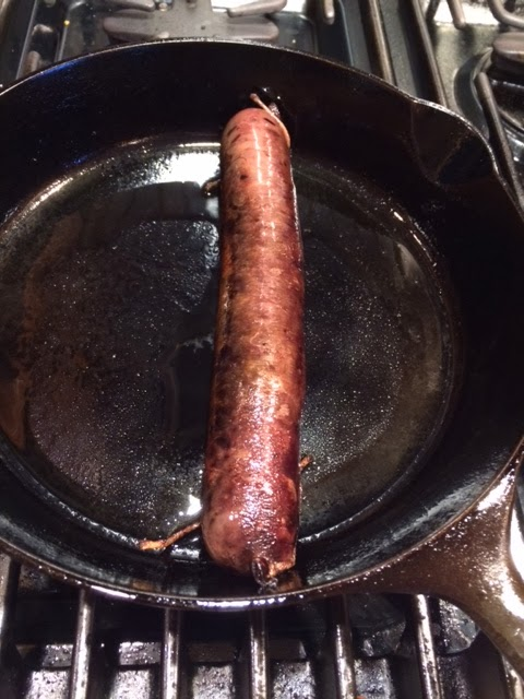 About to fry freshly made Blood Sausage (Sanguinaccio).  Courtesy of Dr. K